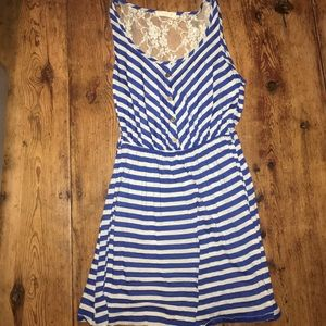 Blue and White Striped Dress with Lace Back